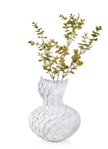The Mia Vazo Kuş Tüyü Dokulu - 35 Cm Eskitme Beyaz Beyaz